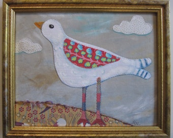 "Bird quilt, applique, painted, fabric art 8""x10"" plus gold frame"