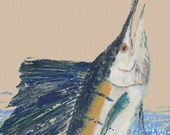 "Sailfish -""High Flyer"" - Gyotaku Fish Rubbing - Limited Edition Print (20.5 x 33.5)"