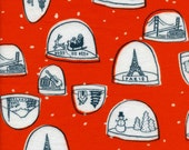 SALE - Cotton + Steel - Tinsel Collection - FLANNEL Snow Globes in Red
