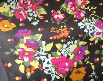 Vintage Neon Floral Black Fabric over 3.5 Yards