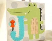 J is for...8x8 hand painted stretched canvas