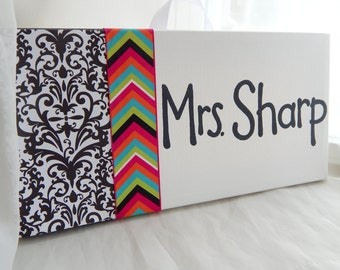 SALE Teacher's room sign with butterfly accent, 6x12 stretched canvas, black and white damask and bright chevron