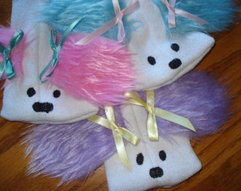 New for 2015 Set of Three Sock Puppets, puppies with pink, purple and turquoise furry ears