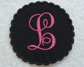 Scalloped Edge Fancy Single Monogram Fabric Embroidered Iron On Applique Patch MADE TO ORDER