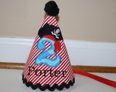 boy birthday hat, pirate themed party outfit, cake smash outfit, red black with aqua blue, 1st birthday, birthday bib, boy second birthday