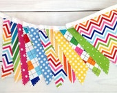 Birthday Decoration, Fabric Banner, Bunting, Photography Prop, Nursery Decor - Colorful, Rainbow, Chevron, Dots, Argyle