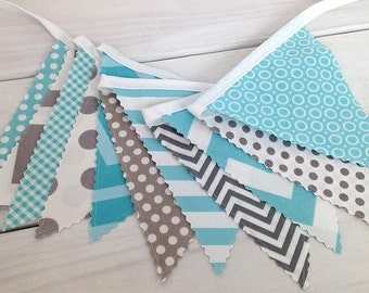 Bunting, Banner, Photography Prop, Fabric Flags, Baby Nursery Decor, Birthday Decoration, Garland, Pennant - Gray, Aqua Blue, Grey, Chevron