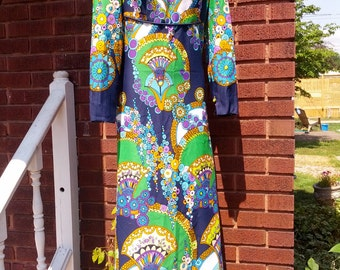 Vintage 60s Mod Wild Colorful Tori Richards Floor Length Hawaiian Hostess Maxi Dress Gown Size Large