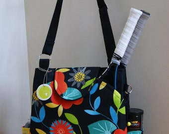 Large Tennis Bag with Rounded Pockets-Made from waterproof material.-Made to Order