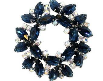 Sapphire Blue Faceted Marquis Brooch