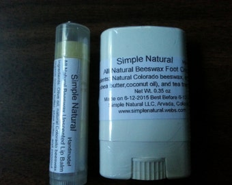 1 handmade beeswax foot cream in twist-up tube + 1 beeswax unscented lip balm