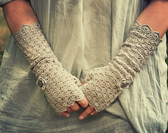 Back to School in Warm Gray - crocheted openwork romantic Mittens Fingerless Gloves Wrist Warmers with flowers