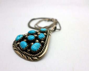 Vintage Turquoise Nugget and Sterling Silver Pendant Necklace Native American Style Marked IC