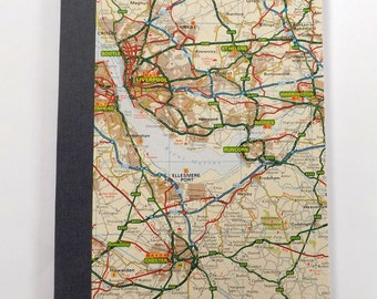 UK #13 - Liverpool - Recycled Road Map Notebook