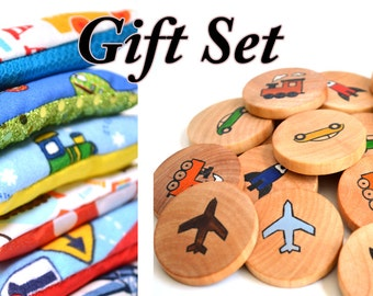 Gift Set Transportation Vroom Beanbags and Memory Game