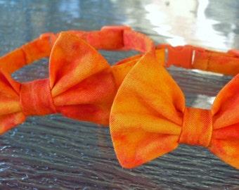 Halloween Orange Tie Dye Bow Tie Collar For Cats