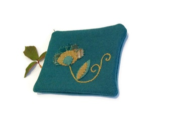 Zippered bag teal pouch embroidery applique flower teal gold