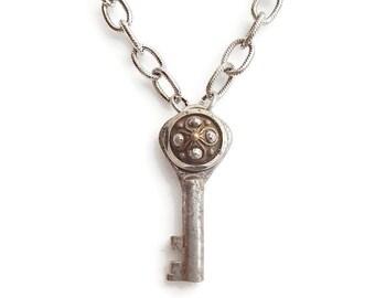 Steampunk Necklace Vintage Key Button