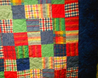 Twin Size Quilt Flannel Bright Squares Quilt  54