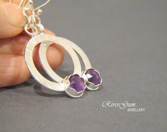 Amethyst Earrings, Gemstone Earrings, Sterling Silver Hoop Earrings, February Birthstone, Aquarius, Handmade by RiverGum Jewellery