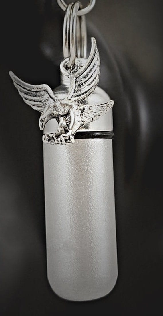 Hand-Brushed Silver 2-tone Cremation Urn Necklace - Soaring Eagle  - Custom Hand Assembled.... in Velvet Pouch with Fill Kit
