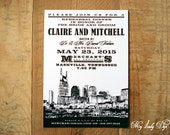 RESERVED FOR TARA G - 25 City Skyline Rehearsal Dinner Invitations Nashville Wedding Invitations