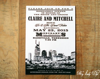 25 City Skyline Rehearsal Dinner Invitations Nashville Wedding Invitation    By My Lady DyeNashville invitation   Etsy. Nashville Wedding Invitations. Home Design Ideas