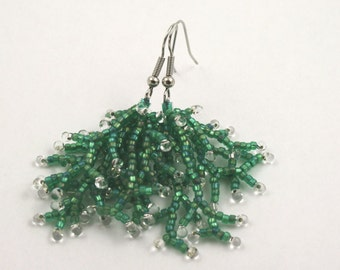 Aqua Blue Coral Fringe Earrings . Beadweaving Earrings . Seed Bead Jewelry . Beaded Fringe