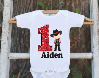 First Birthday Cowboy Outfit - Personalized Bodysuit For Boy's 1st Birthday Party - Western Birthday Party Onepiece with Baby's Name & Age