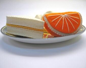 Natural Wool Felt - Half Cheese Sandwich, Potato Chips and Orange Wedge