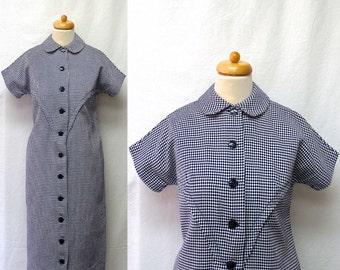 1950s Vintage Cotton Dress / Navy & White Checker Board Op Art Shirt Dress