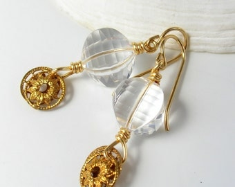 Faceted Quartz Crystal Bead Earrings-Dangle Earrings with Vintage Brass Filigree Charm -Wire Wrapped, Gold-Filled Ear Wires