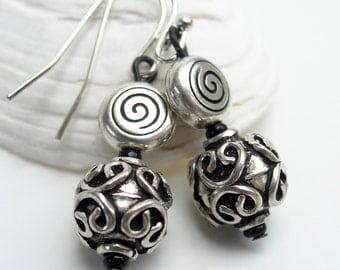Short Antique Silver Bead Earrings-Dangle Earrings-Sterling Silver Earwires