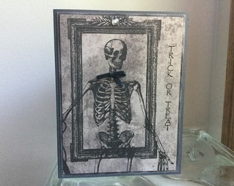Dapper Skeleton, Handmade Halloween Card