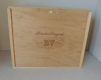 ON SALE-Beaulieu Vineyard Wood Storage Box. Large Wine Bottle Sliding Lid Wood Box.  All Purpose Storage Box. Desk Storage