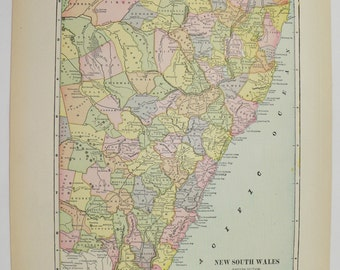 1902 Map New South Wales Australia NSW Map, Vintage Art Map, Gift for Office Decor, Wedding Gift for Couple, Antique Wall Map