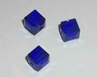 Clearance Sale -- 6 Celestial Crystal Cubes 6mm crystal beads COBALT BLUE