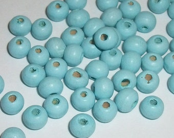 Wood beads, 6mm round dyed wooden beads for jewelry making -- Skyblue 100 loose beads