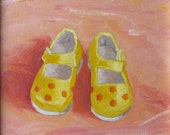 DOTTED BABY SHOES, 8 x 8 original oil on canvas board painting by Yvonne Wagner. Shoe painting. Baby Shoe painting. Sale.