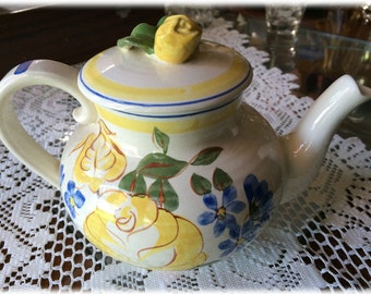 TEAPOT with Lid Red Wing China BRITTANY Yellow Rose Blue Flowers Handpainted USA