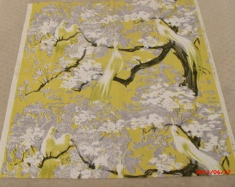 2 pc Greef Chinoiserie Fabric Yardage Decorator Designer Pillow Fabric Birds
