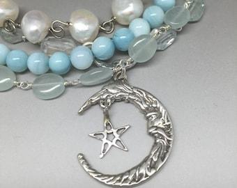 LaLuna -- Stering Beaded Chain, Pearl, Moon & Star Bracelet