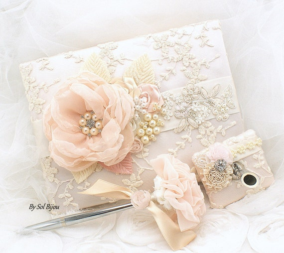 Wedding Guest Book, Blush, Champagne, Cream, Ivory, Bridal Shower, Lace Guest Book, Anniversary, Signature Book, Pen, Sign in Book, Elegant