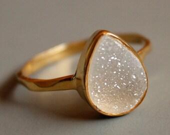 Gemstone Ring - Druzy Ring - White Agate Druzy - Teardrop Shape - Stacking Ring