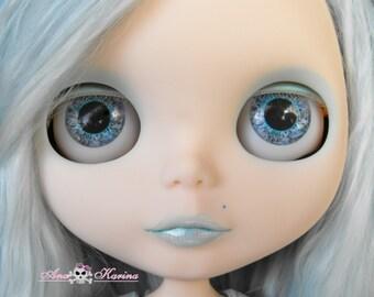 Blythe eye chips OOAK REALISTIC custom set C18, by Ana Karina. UV laminated