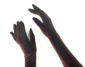 Chocolate Brown - Opera Gloves - Velour - Stretch - Long - Formal - Recycled - Eco Friendly - UNIQUE - Size Small - 1990s