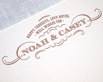 Personalized Letterpress Advice Cards - Custom Wish Cards for Weddings or Showers