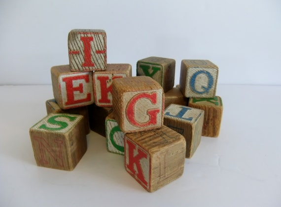 Vintage blocks alphabet preschool learning by