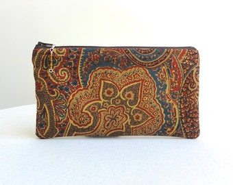 Brown, Rust Dark Teal Clutch / Zippered Bag / Beaded Pull - READY TO SHIP
