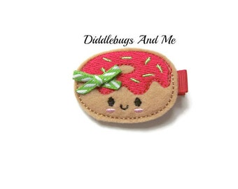 Christmas Doughnut Hair Clip, Red Icing Doughnut Hair Clip, Christmas Hair Clip, Girls Red and Green Doughnut Hair Clip, Doughnut Clip